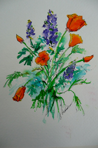 Poppies and Lupine - Francine Bearden